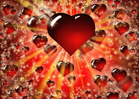 Valentine Red Hearts Background. Love texture for St.Valentines Day. Colorful vector illustration with bright rays of light and convex glass heart.