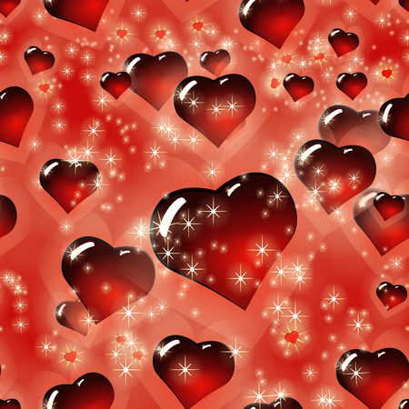 Seamless love heart pattern. Red Love texture for St.Valentines Day. Vector Illustration with volume convex glass heart on bokeh red background. 向量圖像