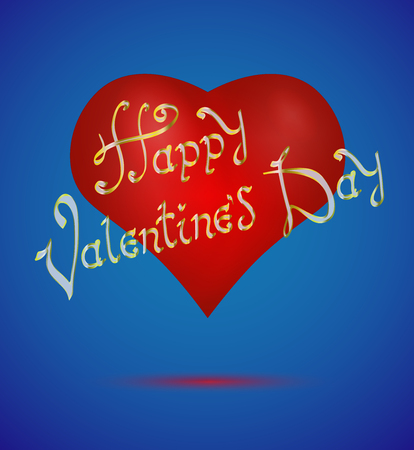 Happy Valentines Day. Blue Card Background. Vintage Hand Drawing Vector Lettering design on realistic red heart.