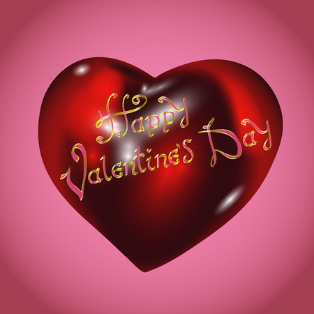 Happy Valentines Day. Pink Card Background. Vintage Hand Drawing Vector Lettering design on realistic red heart.