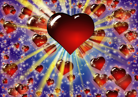Valentine Blue Hearts Background. Love texture for St.Valentines Day. Colorful vector illustration with bright rays of light and convex red glass heart.