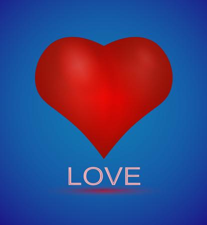 Realistic 3D Valentine heart vector illustration. Sweetness blue color Background. Love design for St.Valentines Day.