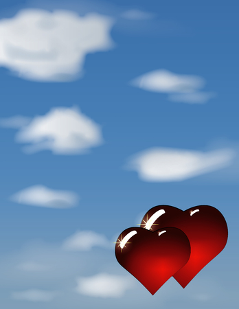 Vector illustration two hearts on heaven. Blue sky with clouds. Romantic background.
