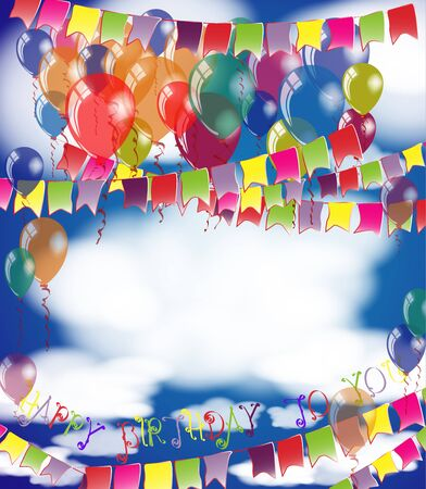 Happy Birthday invitation or congratulation card template. Place for name and text on white cloud. Vector illustration colorful air balloons on heaven. Blue sky with clouds background.