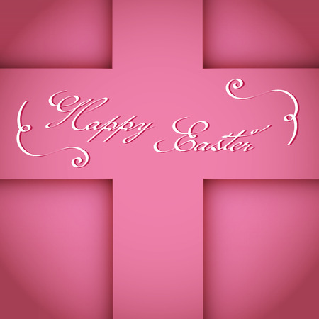 Happy Easter Typographical Background. Pink cross shadow compositions. Hand written lettering on modern calligraphy style.