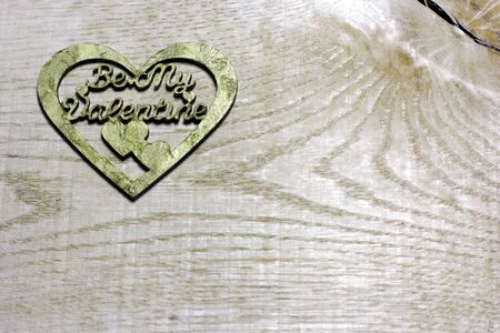Be My Valentines decoupage handmade heart  on  wooden background. Love card for Valentines day. Concept with big copyspase for hand crafts or DIY illustration.