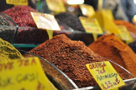 teas: Various colorful teas on display at Istanbuls Spice Bazaar.
