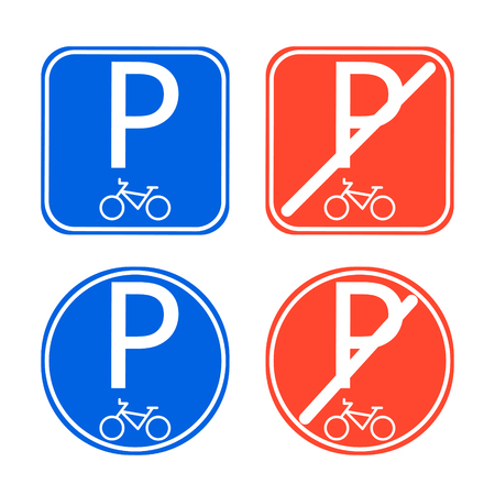 allowed: Bike parking sign allowed and disallowed vector.