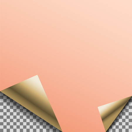 customizable: Folded copper foil blank vector note planner sticker.
