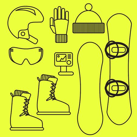 mountainside: Snowboard gear vector line icon set.