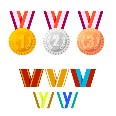 Set of champion medals gold, silver and bronze. Stock Photo