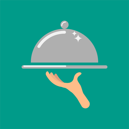 Service concept vector icon illustration. Waiters hand holding silver cloche food tray.