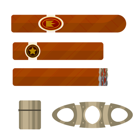 smoldering: Cigars with metallic lighter and guillotine tool vector illustration set.