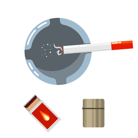 gas lighter: Ashtray top view with smoldering cigarette, matcbox and lighter cartoon vector illustration.