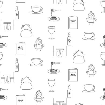 ice tea: Restaurant line icon seamless pattern. Black objects of food and drink on white background. Stock Photo