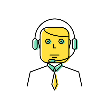 Operator with headset line icon vector illustration. Community manager or support service.