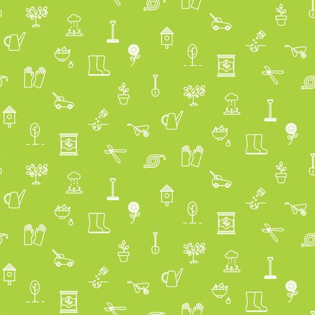 Gardening line icons vector seamless pattern. Illustration