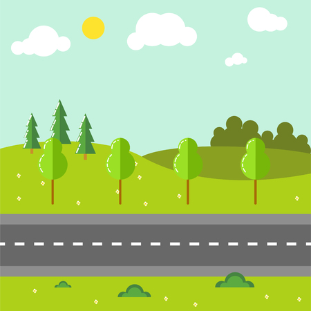 Rural landscape with road vector illustration.