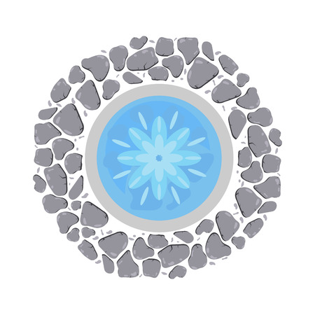 Fountain with flowing water and decorative round pebble border top view vector illustration isolated on white.