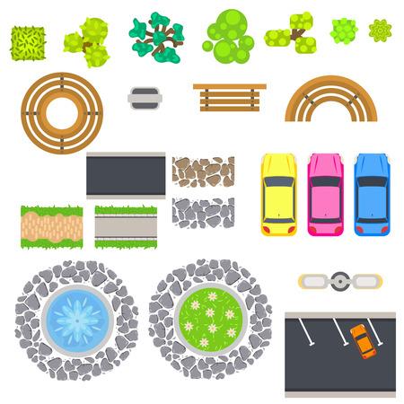 Bovenaanzicht landschap vector geïsoleerde objecten. Parkbanken, bomen, struik, auto, fontein en lantaarn. Stadsinfrastructuur. Stedelijk recreatiegebied. Vector Illustratie