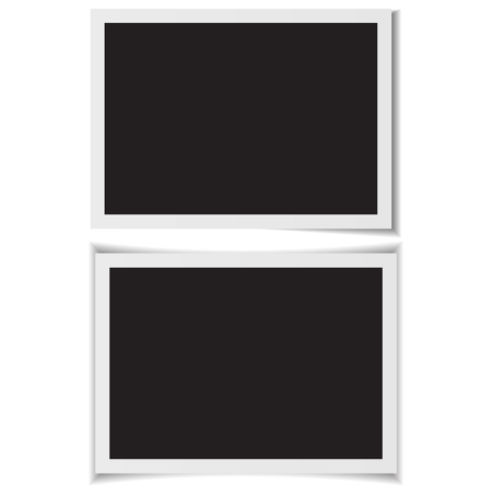 Blank photo frames with shadow on back vector.