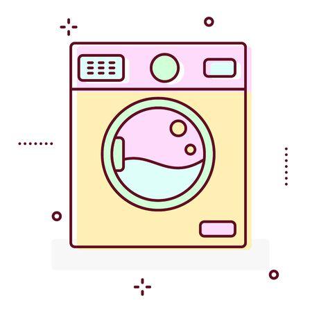 washhouse: Washing machine line style vector icon. Stock Photo