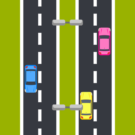 motorway: Two way roadway vector illustration top view.