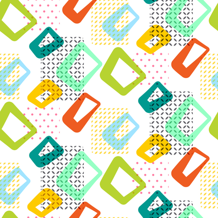 Geometric vintage 60s seamless vector pattern. Retro sixties yellow, green and blue shapes surface texture.