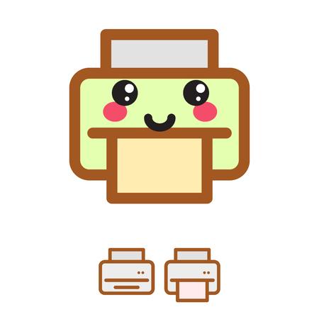 copy machine: Printer kawaii vector icon. Simple color inkjet illustration symbol. Illustration