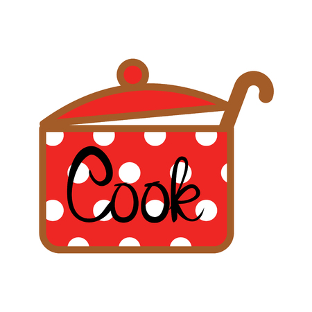 Red saucepan with white polka dot design and cook word vector icon. Illustration