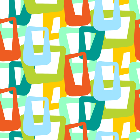 Geometric vintage 50s seamless vector pattern. Retro sixties yellow, green and blue shapes dense overlap background.