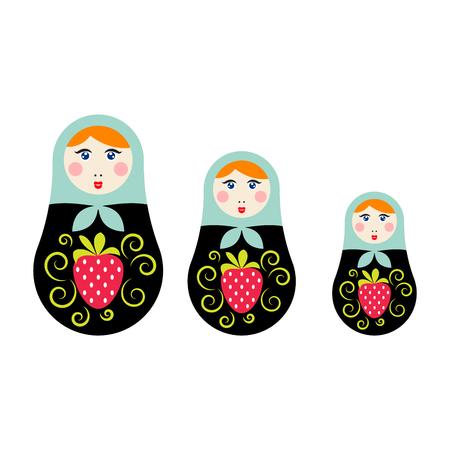 Russian nesting doll vector illustration. Matryoshka toy souvenir set.