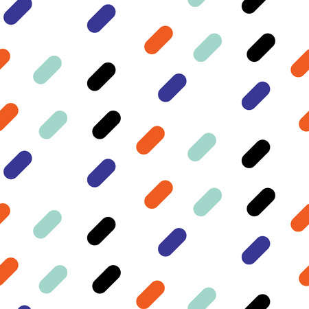 Diagonal bold lines seamless vector pattern. Blue, black and orange simple shapes background for website wallpaper and fabric print. Illustration
