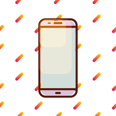 Smartphone vector icon on gradient memphis pattern. Illustration