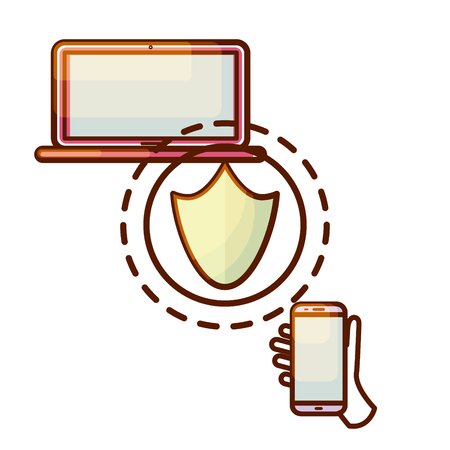 Secure connection laptop computer and smartphone device icon. Illustration