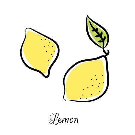 Lemon line colored doodle vector icon. Fruit outline citrus isolated on white background. Ilustracja