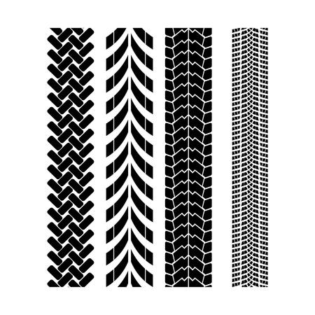 Tire track brush seamless border vector.