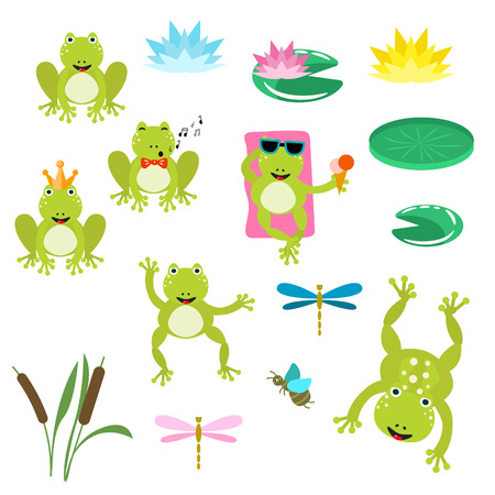 Frogs cartoon clipart vector set. Illustration