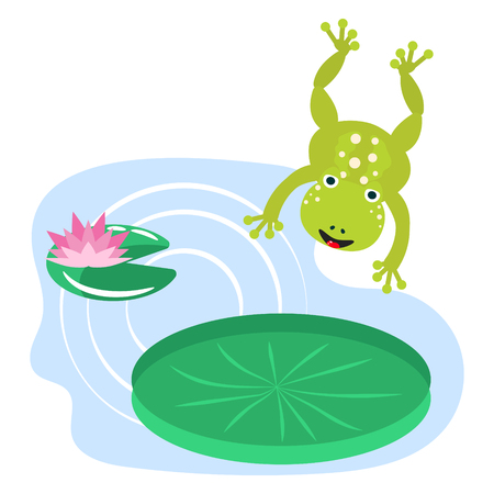 Frog jumping on water lily cartoon clipart vector set.