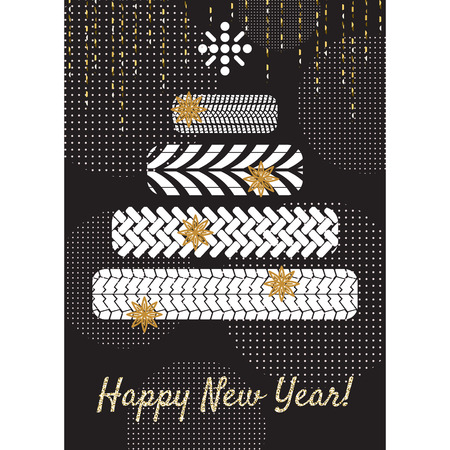 Tire new year tree greeting card concept. Stock Illustratie