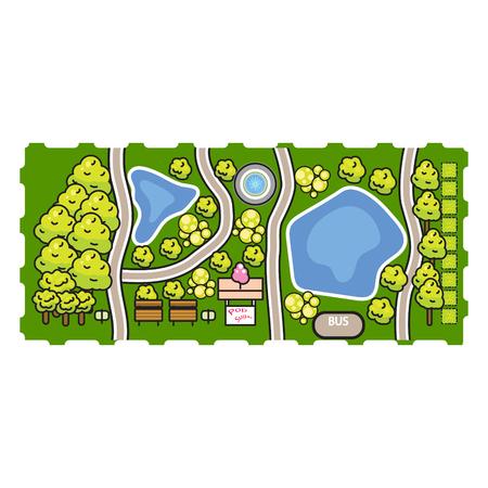 Park top view vector illustration.