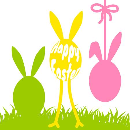 Happy Easter funny eggs on grass vector card illustration. Illustration