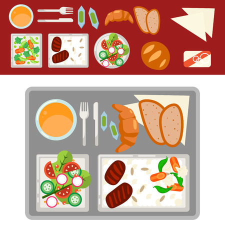 Airplane meal on tray vector illustration. Food set top view. Stock Photo