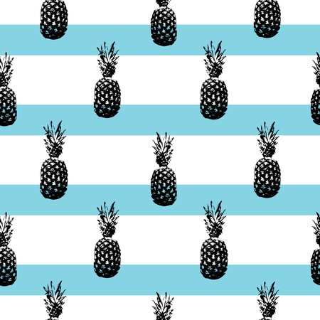 Pineapple silhouettes pattern on striped background. Ilustração