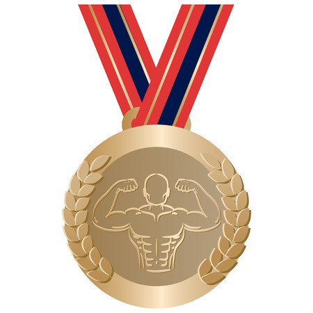 Gym sport gold medal. Bodybuilding championship award vector isolated. Weightlifting reward symbol. Vectores