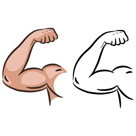 Strong muscle arm sketch line vector. Male powerful arm flex silhouette.