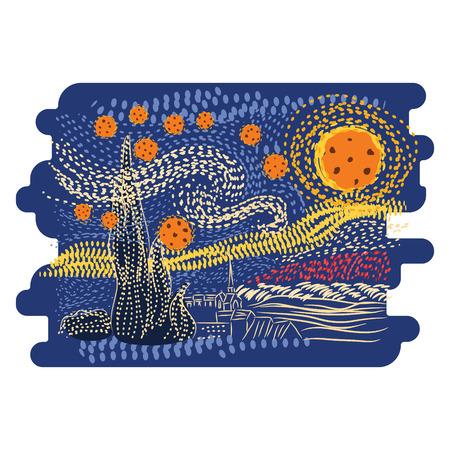Vector de estilo de arte de Van Gogh de la noche estrellada. Ilustración de vector