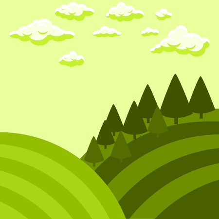 Tuscan fields vector landscape illustration.