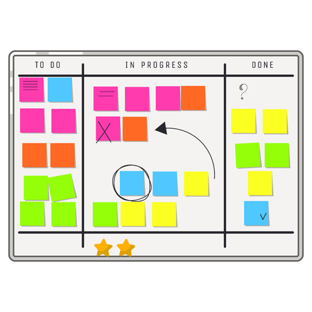 Planning whiteboard organizer with sticker notes. To do tasks and progress processes board scrum methodology. Illustration