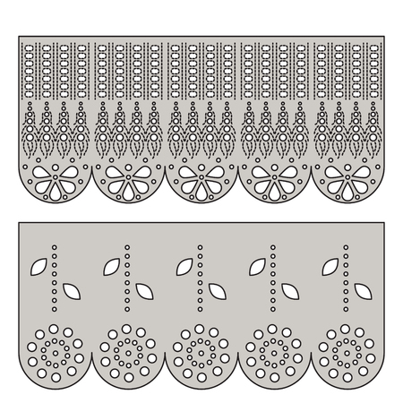 Eyelet lace decorative ornament for border fabric. Cotton embroidery design vector.